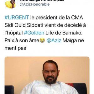 Mali: le président en exercice de la Coordination des mouvements de l'Azawad, Sidi Brahim Ould Sidati, a été assassiné